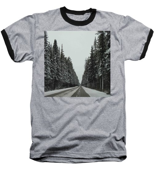 Road To Banff Baseball T-Shirt by Cheryl Miller
