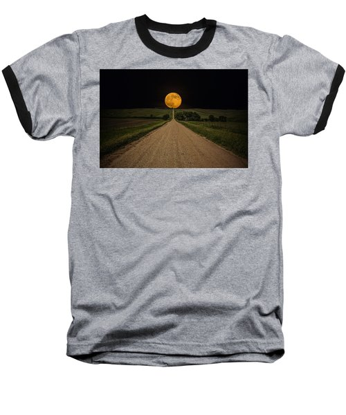 Road To Nowhere - Supermoon Baseball T-Shirt by Aaron J Groen