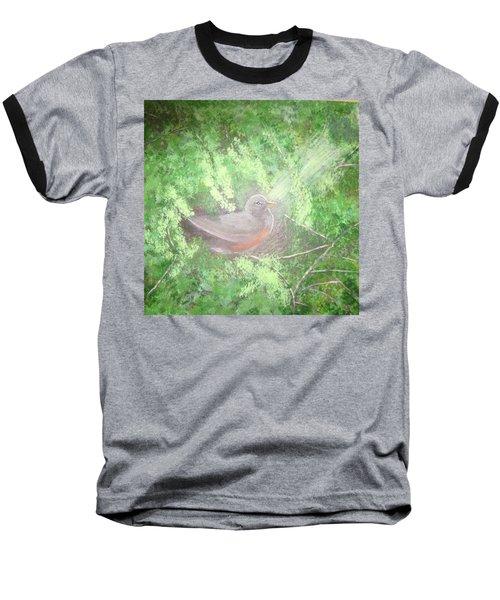 Robin On Her Nest Baseball T-Shirt