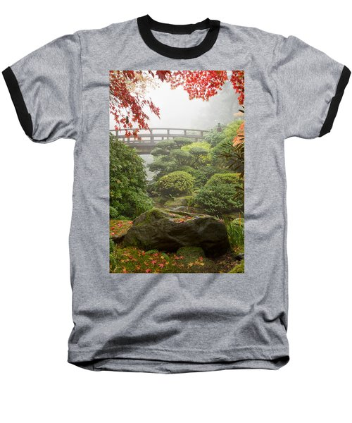 Baseball T-Shirt featuring the photograph Rock And Bridge At Japanese Garden by JPLDesigns