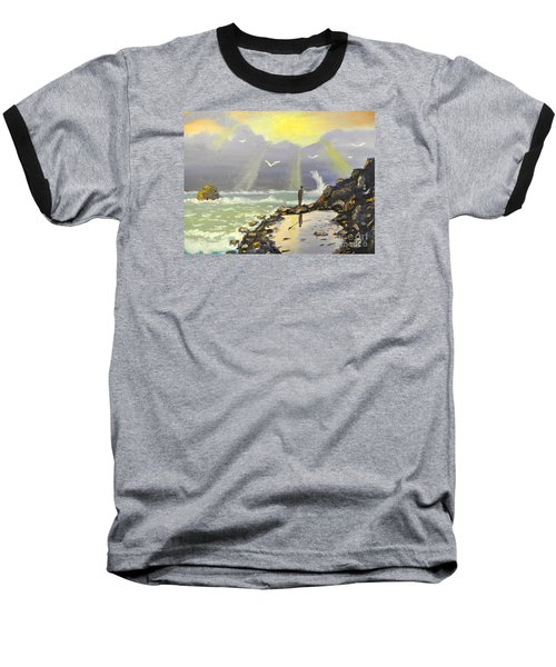 Baseball T-Shirt featuring the painting Rock Fishing At Wombarra  by Pamela  Meredith