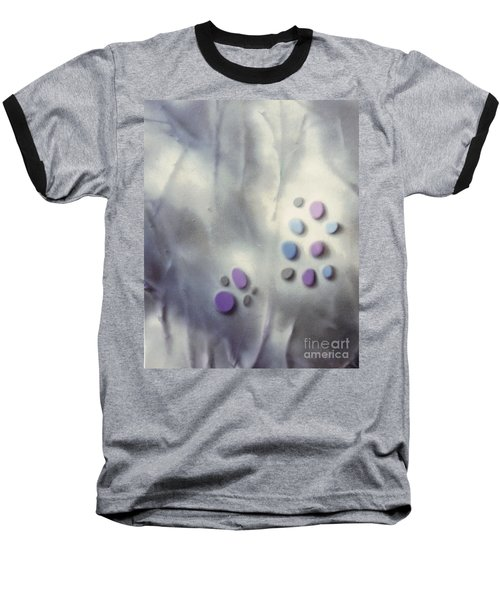 Rock Painting Lavender And Gray With Twigs Baseball T-Shirt