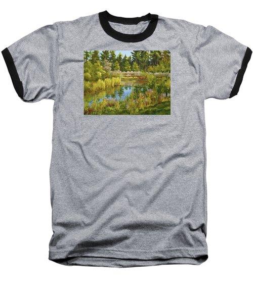 Rock Valley Pond Rockford Il Baseball T-Shirt by Alexandra Maria Ethlyn Cheshire