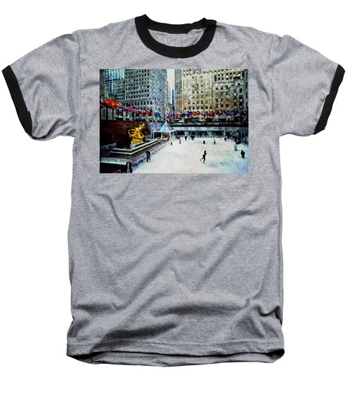 Rockefeller Center Ice Skaters Nyc Baseball T-Shirt
