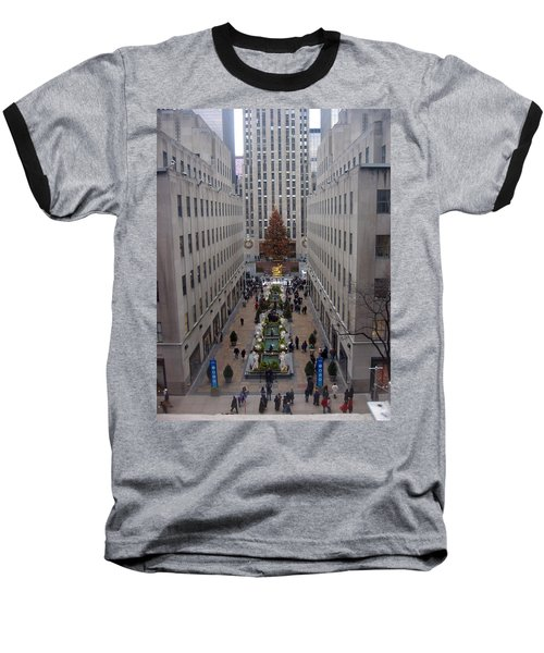 Baseball T-Shirt featuring the photograph Rockefeller Plaza At Christmas by Judith Morris