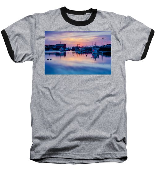 Baseball T-Shirt featuring the photograph Rockport Harbor Sunrise Over Motif #1 by Jeff Folger