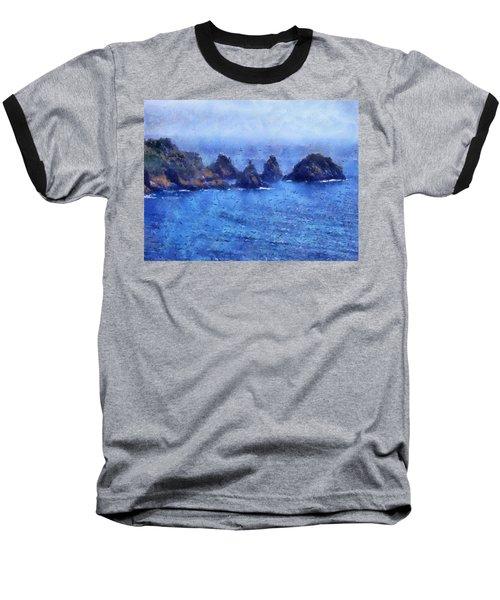 Rocks On Isle Of Guernsey Baseball T-Shirt
