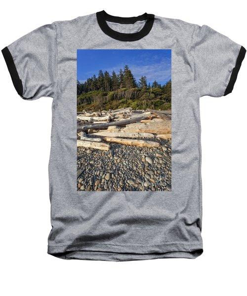 Rocky Beach And Driftwood Baseball T-Shirt