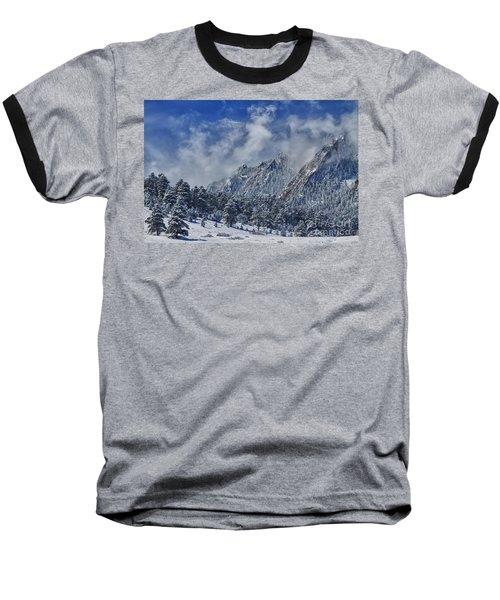 Rocky Mountain Dusting Of Snow Boulder Colorado Baseball T-Shirt