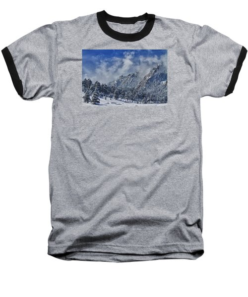 Rocky Mountain Dusting Of Snow Boulder Colorado Baseball T-Shirt