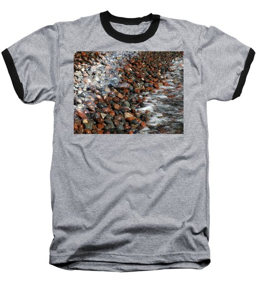 Rocky Shoreline Abstract Baseball T-Shirt by James Peterson
