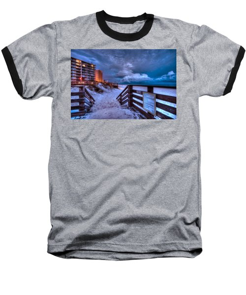 Romar Beach Clouds Baseball T-Shirt