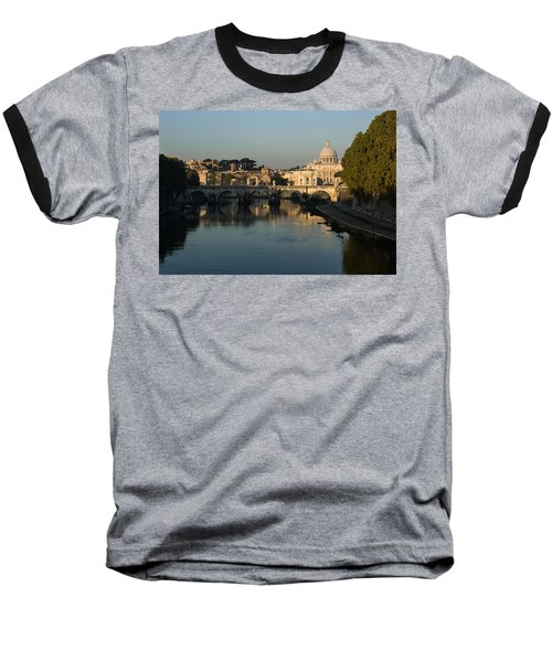 Rome - Iconic View Of Saint Peter's Basilica Reflecting In Tiber River Baseball T-Shirt