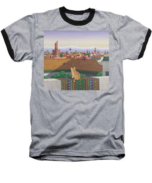 Rooftops In Marrakesh Baseball T-Shirt by Larry Smart