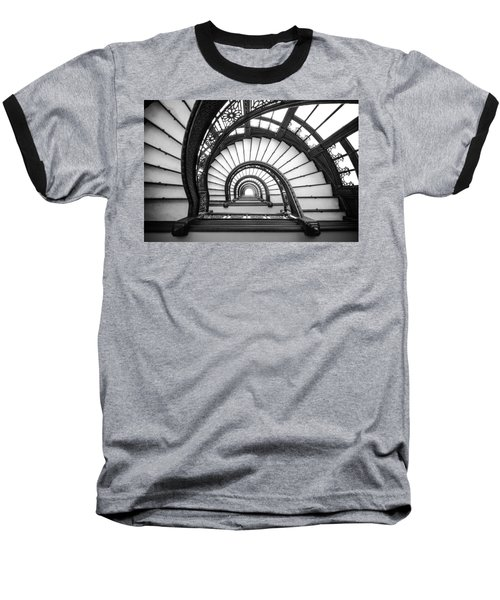 Rookery Building Oriel Staircase - Black And White Baseball T-Shirt