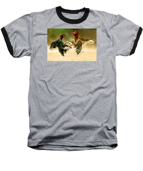Rooster Fight Hd Baseball T-Shirt