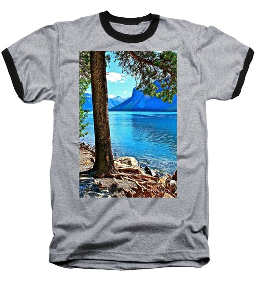 Baseball T-Shirt featuring the photograph Rooted In Lake Minnewanka by Linda Bianic