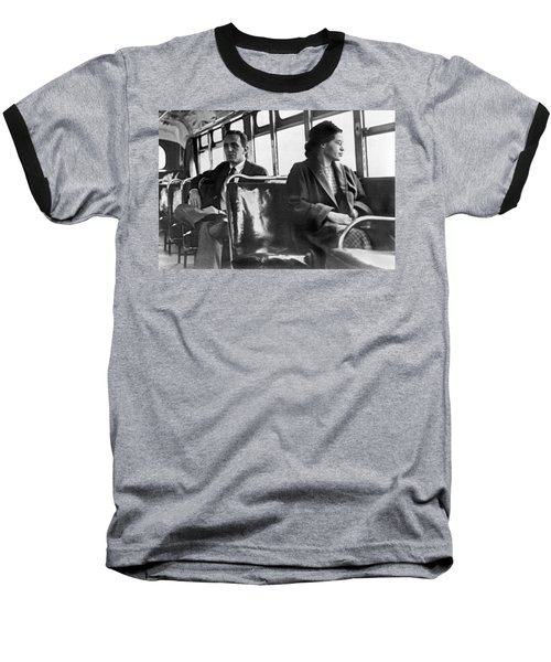Rosa Parks On Bus Baseball T-Shirt