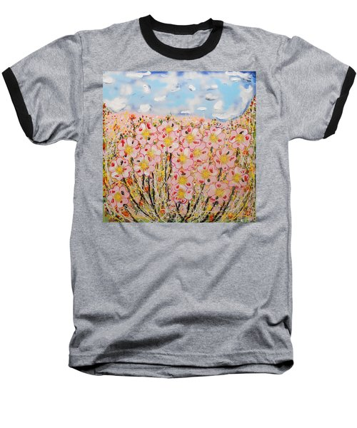 Rosa Ruby Flower Garden Baseball T-Shirt