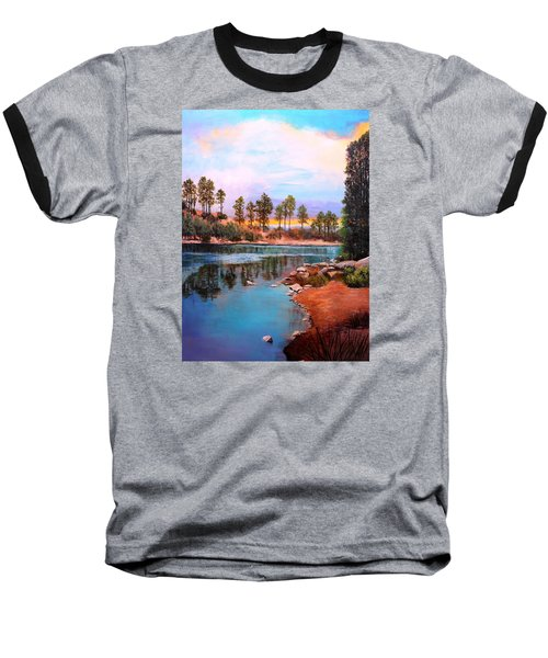 Baseball T-Shirt featuring the painting Rose Canyon Lake 2 by M Diane Bonaparte