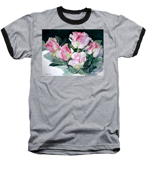 Watercolor Of A Pink Rose Bouquet Celebrating Ezio Pinza Baseball T-Shirt