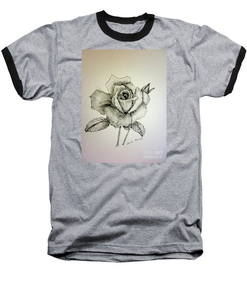 Rose In Monotone Baseball T-Shirt