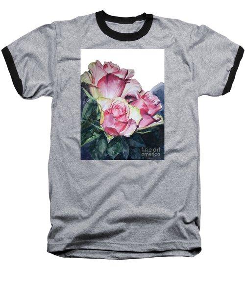 Pink Rose Michelangelo Baseball T-Shirt by Greta Corens
