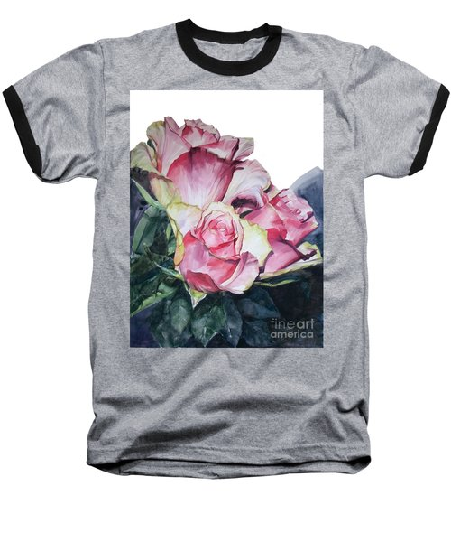 Watercolor Of A Bouquet Of Pink Roses I Call Rose Michelangelo Baseball T-Shirt