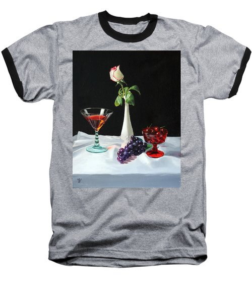 Rose Wine And Fruit Baseball T-Shirt