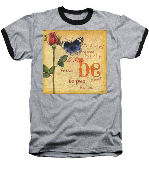 Roses And Butterflies 1 Baseball T-Shirt by Debbie DeWitt