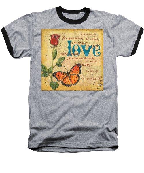 Roses And Butterflies 2 Baseball T-Shirt