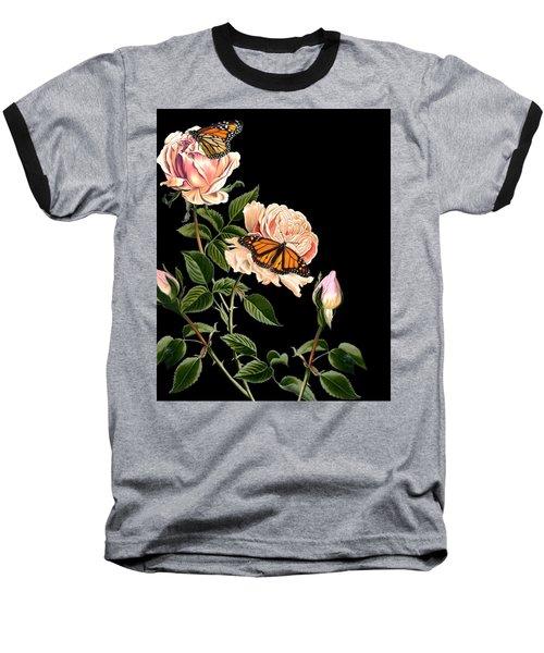 Roses And Butterflies Baseball T-Shirt