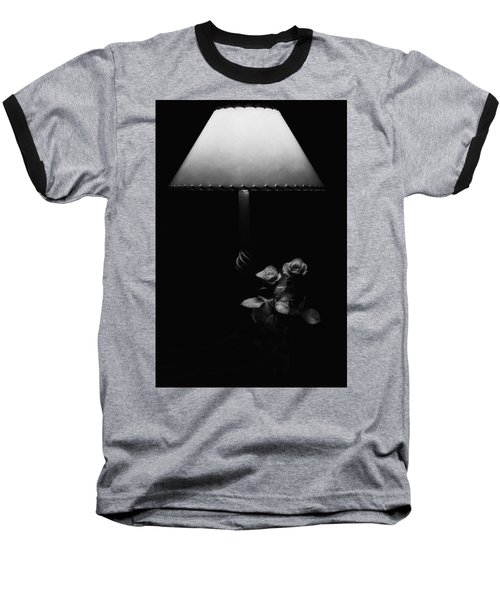 Baseball T-Shirt featuring the photograph Roses By Lamplight Bw by Ron White