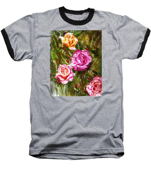 Baseball T-Shirt featuring the painting Roses by Harsh Malik