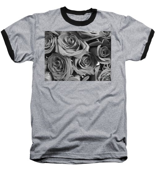 Baseball T-Shirt featuring the photograph Roses On Your Wall Black And White  by Joseph Baril