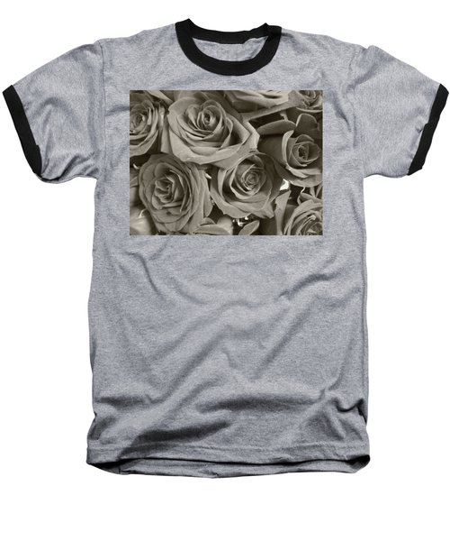 Baseball T-Shirt featuring the photograph Roses On Your Wall Sepia by Joseph Baril