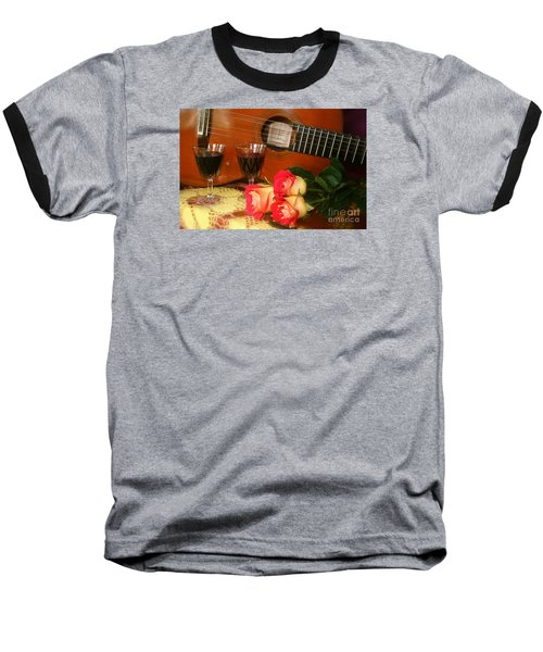 Baseball T-Shirt featuring the photograph Guitar 'n Roses by The Art of Alice Terrill