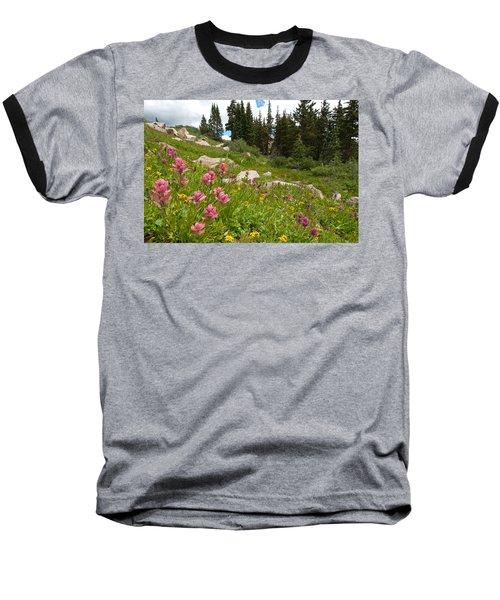 Rosy Paintbrush And Trees Baseball T-Shirt