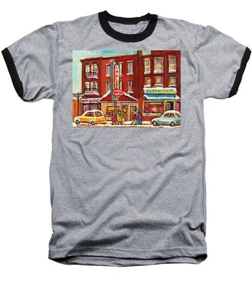 Rotisserie Le Chalet Bar B Q Sherbrooke West Montreal Winter City Scene Baseball T-Shirt by Carole Spandau