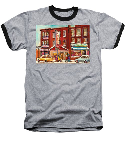 Rotisserie Le Chalet Bar B Q Sherbrooke West Montreal Winter City Scene Baseball T-Shirt
