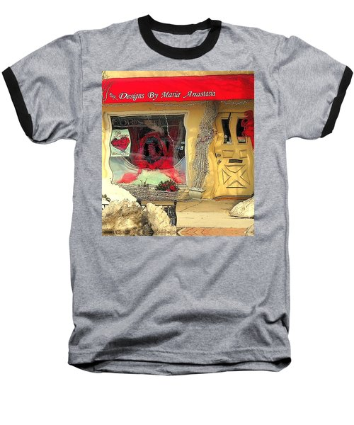 Rouge On The Rue Baseball T-Shirt by Tami Quigley