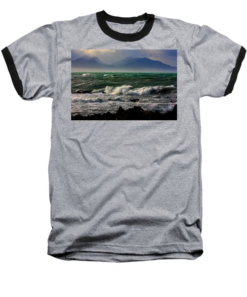Baseball T-Shirt featuring the photograph Rough Seas Kaikoura New Zealand by Amanda Stadther