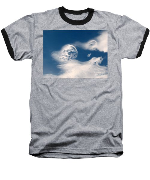 Round Clouds Baseball T-Shirt by Leone Lund