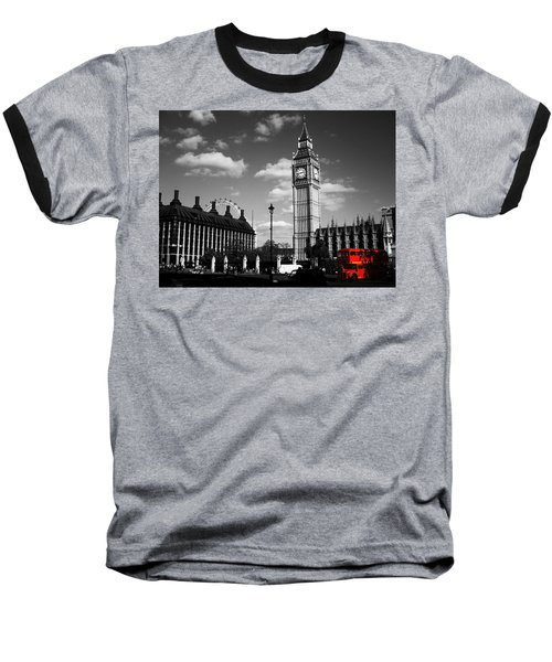 Routemaster Bus On Black And White Background Baseball T-Shirt