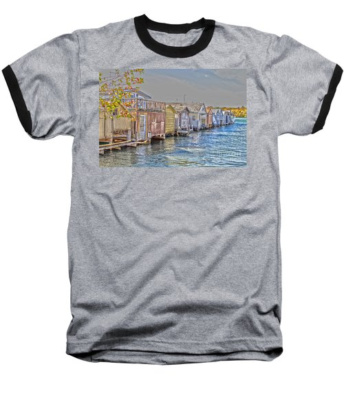 Row Of Boathouses Baseball T-Shirt by William Norton