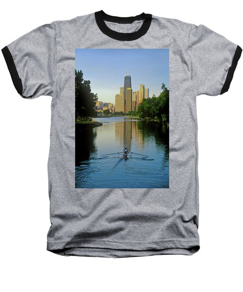 Rower On Chicago River With Skyline Baseball T-Shirt