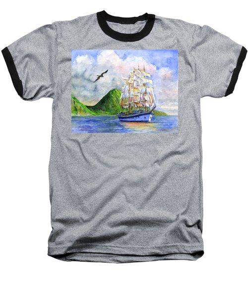 Royal Clipper Leaving St. Lucia Baseball T-Shirt by John D Benson