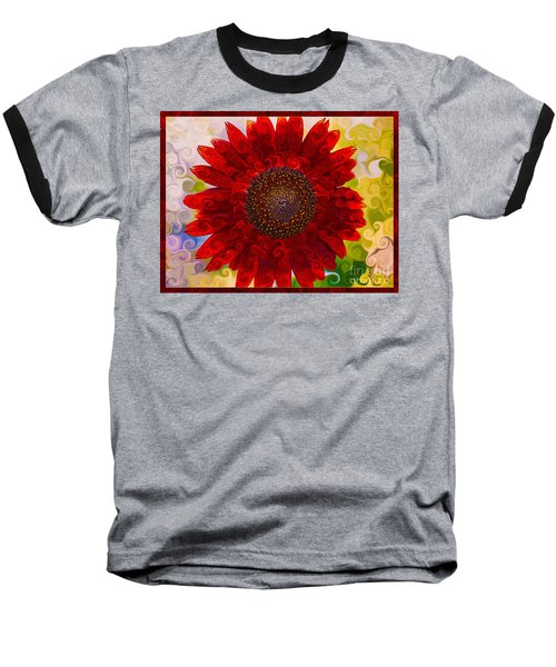 Royal Red Sunflower Baseball T-Shirt