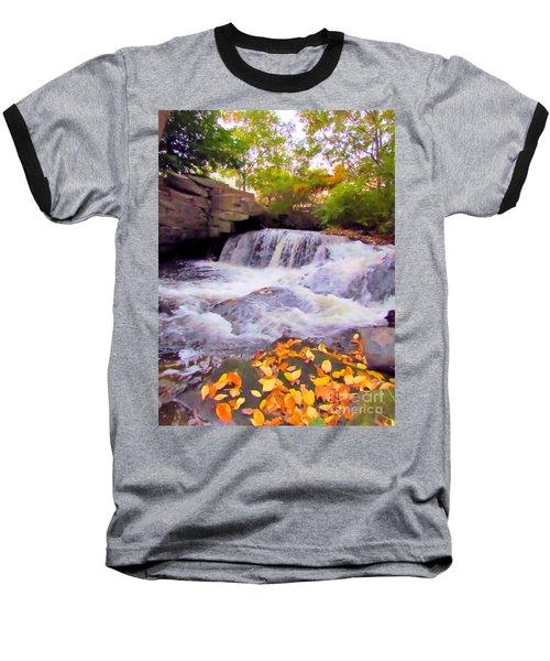 Royal River White Waterfall Baseball T-Shirt