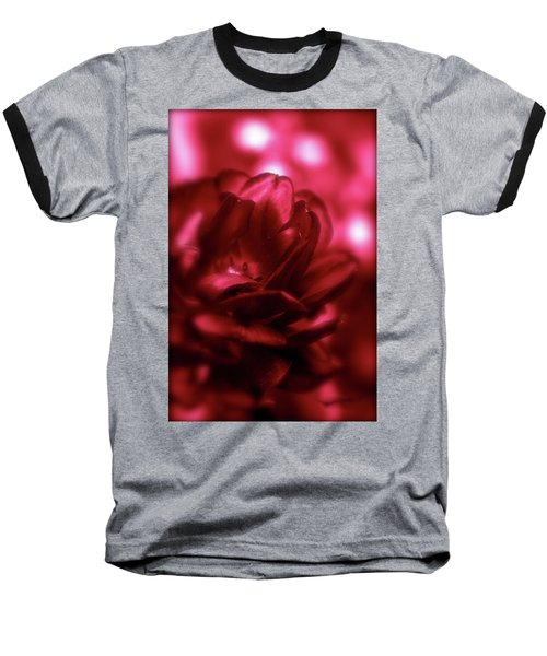 Ruby Red  Dahlia With Bokeh Baseball T-Shirt